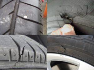 タイヤに異物や傷